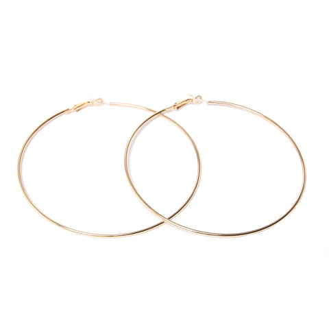 Gold 9cm Hoop Earrings Plain