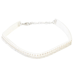 White Suede Choker with Diamante and Studs