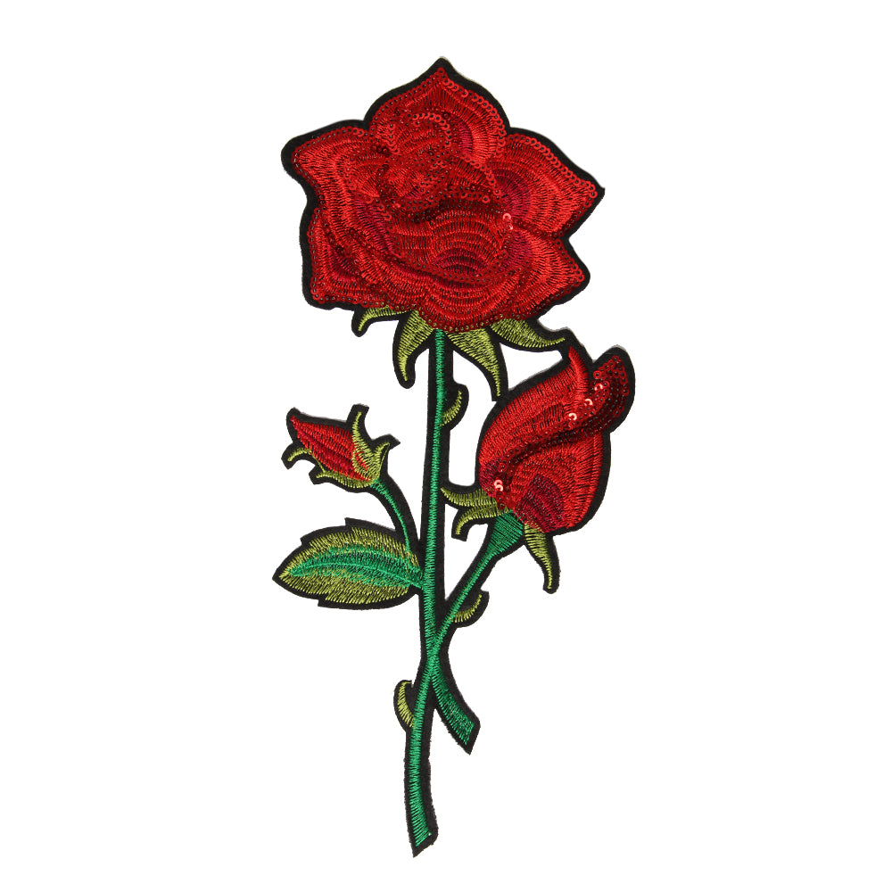 Large Rose Iron On Patch