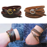 Men's Minimal & Stylish Wounded Leather Bracelet Bangle Fashion
