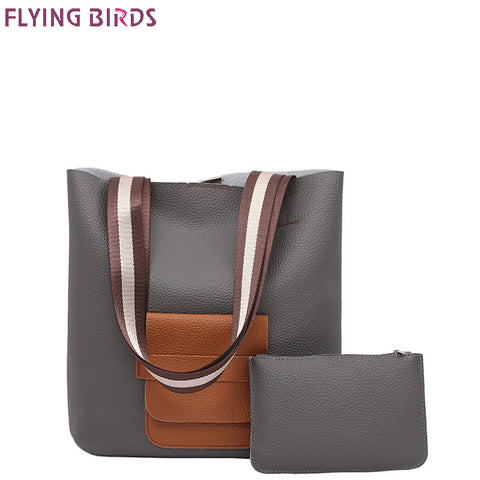 Women Handbags Composite Bag 2pcs Set Bolsas High Quality - CampingParadis