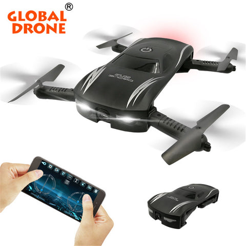 Global Drone Selfie Drone FPV Foldable Drones with HD Camera Allitude Hold 2.4G 4CH RC Helicopter Wifi - CampingParadis