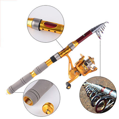 1.8-3.0M Carbon Fiber Telescopic  Fishing Kit: 1 Teleskop Angelrute + 1 Spinning Reel - CampingParadis
