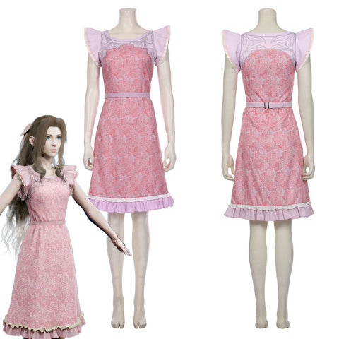 Final Fantasy VII Remake-Aerith Gainsborough Pink Dress Halloween Carnival Outfit Cosplay Costume