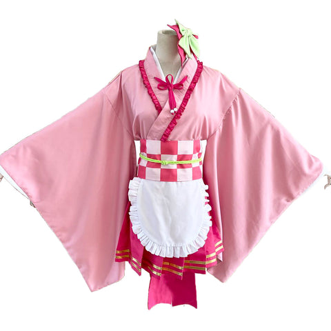 Anime Demon Slayer: Kimetsu no Yaiba Tsuyuri Kanawo Lolita Maid Outfits Apron Dress Cosplay Costume