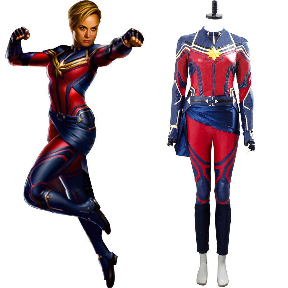 Avengers Endgame Captain Marvel Carol Danvers Cosplay Costume New Cosplaysky Marvel carol danvers cosplay costume components jumpsuit,gloves,cuffs,shoes covers,vest,belt, mask materials leather,knit fabric tips 1.please note the wig of mask is soft, you need to make a style by yourself.;2.pls check size carefully before order.if it. cossky