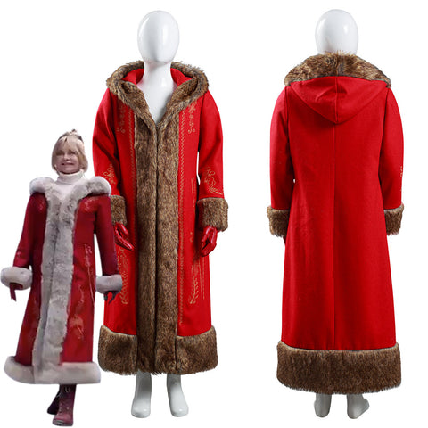 The Christmas Chronicles 2 Mrs. Claus Coat Gloves Outfits Halloween Carnival Suit Cosplay Costume for Kids Children