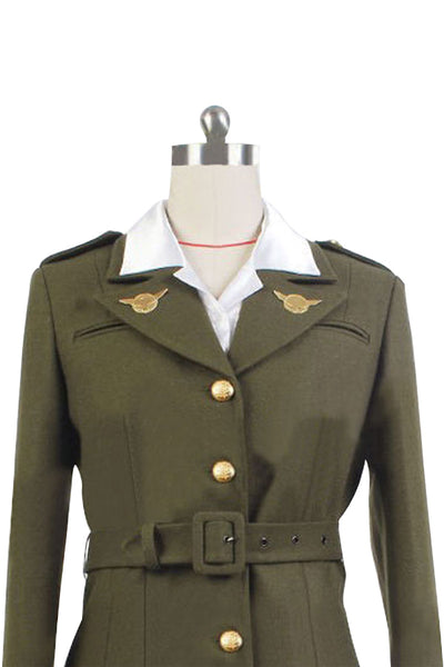 Captain America: The First Avenger Agent Peggy Carter Suit Cosplay Costume Version Green