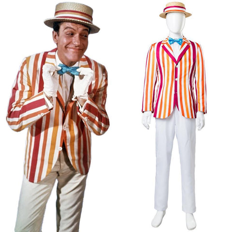 Mary Poppins 1964 Film Bert Dick Van Dyke Suit Cosplay Costume