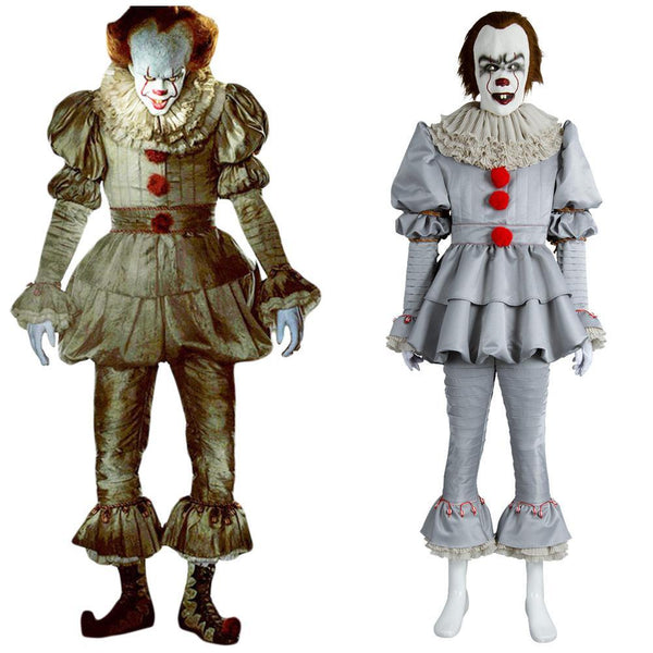 2017 IT Movie Pennywise The Clown Outfit Suit Halloween Cosplay Costume for Males Females