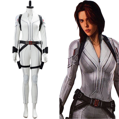 Shield Avengers Black Widow Movie Natasha Romanoff White Suit Costume Cosplay Costume