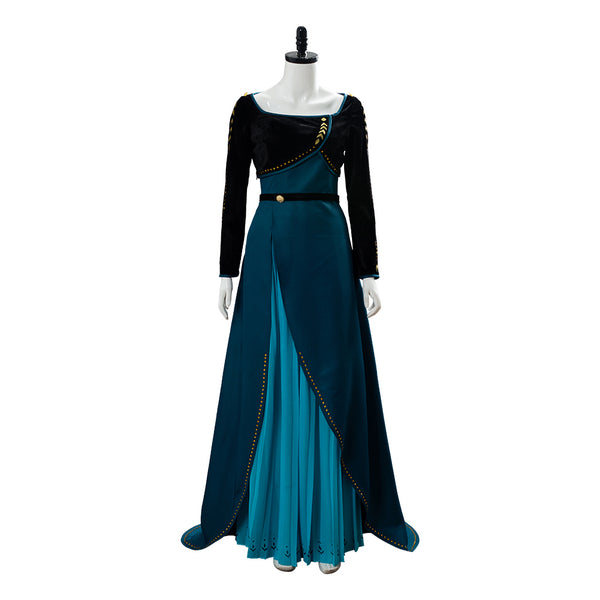 Frozen 2 Queen Anna Coronation Gown Dark Green Dress Cosplay Costume