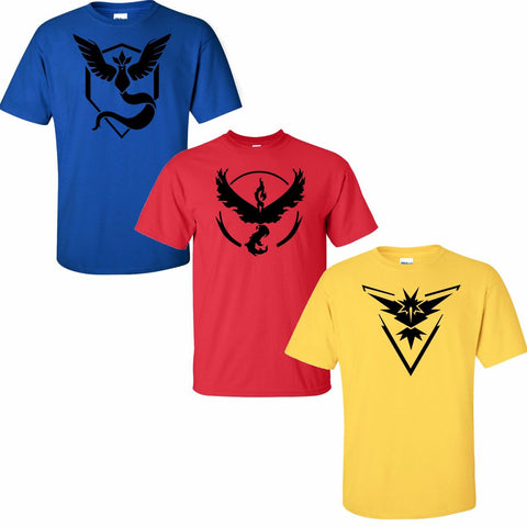 Pokemon Go Logo Team Red Valor/Yellow Instinct/Blue Mystic T-Shirt Cosplay Costume