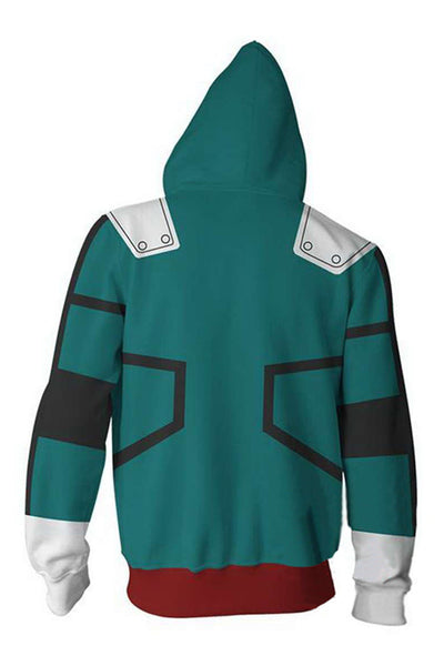 My Hero Academia Hoodie Boku no Hero Izuku Midoriya Deku Zip Up Sweatshirt Unisex