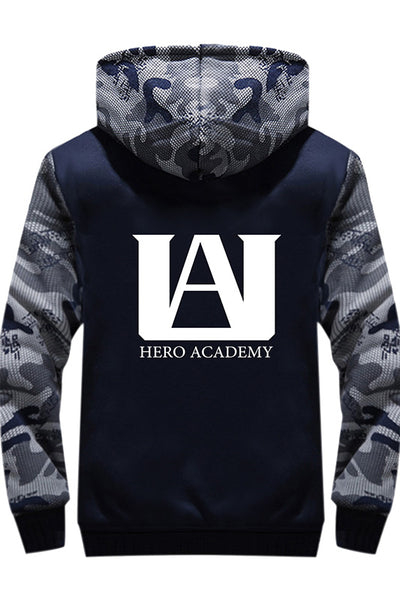 Teen Hoodie My Hero Academia Pattern Thick Fleece Camouflage Winter Hoodie