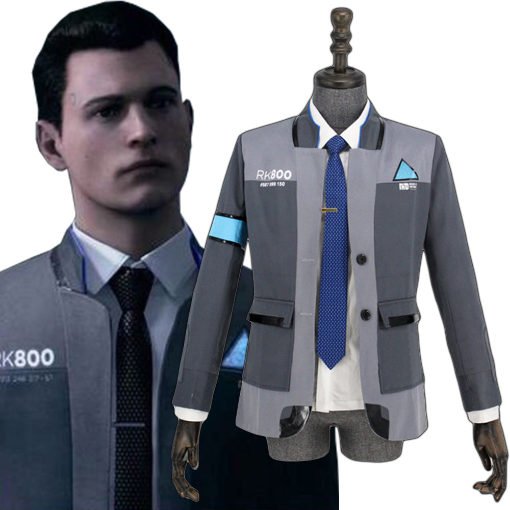 Costume Halloween Man.Detroit Become Human Connor Rk800 Agent Suit Uniform Tight Unifrom Cosplay Costume Halloween