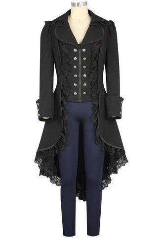 Steampunk Black Tailcoat Victorian Gothic Cosplay Costume Female Ver.