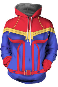 Captain Marvel Carol Danvers Hoodie Superhero Zip Up Sweatshirt Unisex