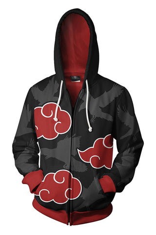 Teen Hoodie Naruto Akatsuki Red Cloud 3D Zip Up Sweatshirt Unisex