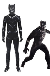 Marvel 2018 Black Panther T'Challa outfit jumpsuit Halloween cosplay costume+mask+shoes whole set