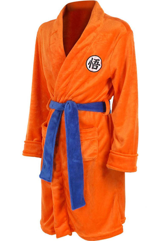 Mens Bathrobe Dragon Ball Son Goku Outfit Pattern Plush Robe For Adults Orange