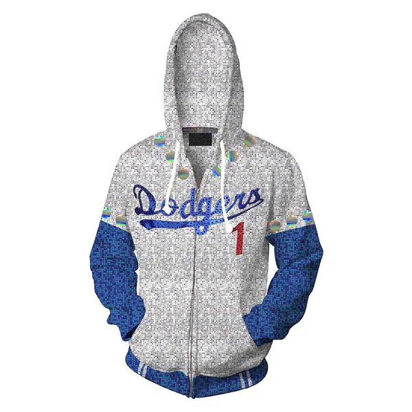 2019 Rocketman Elton John Dodgers Zip Up Hoodie Baseball Team Uniform Cosplay Costume