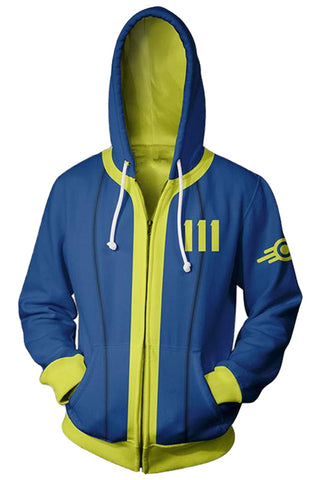 Fallout 4 Hoodie Vault #111 3D Printed Zip Up Sweatshirt