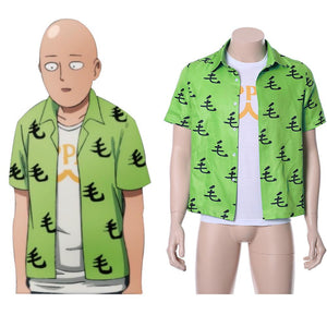 One Punch Man Saitama Oppai Casual Shirt Tee Green Ver.