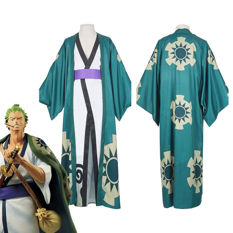 One Piece Roronoa Zoro Kimono Robe Full Suit Outfit Halloween Carnival Costume Cosplay Costume