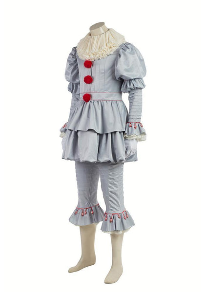 IT Movie Pennywise The Clown Outfit Suit Halloween Cosplay Costume for Males Females