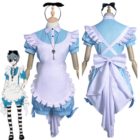 Black Butler Ciel Phantomhive Maid Apron Dress Uniform Outfits Halloween Carnival Suit Cosplay Costume