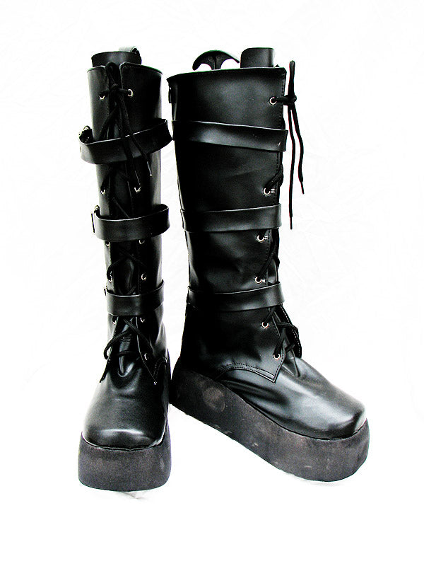 Punk buckle black heavy-bottomed boots Custom-Made