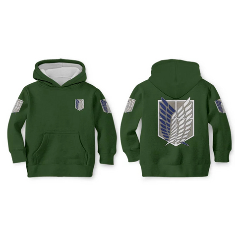 Kids Attack on Titan Hoodies Streetwear Autumn Winter Coat Survey Corps Cosplay Pullover Hoodie Sweatshirt