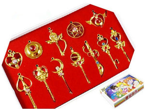 Sailor Moon Cosplay Keychain Pendant Necklace Collection Sets 14Pcs Cosplay Accessories