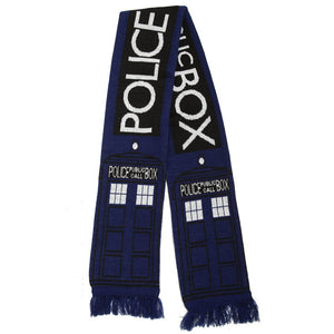 Doctor Who Scarf Police Box Blue Scarf Men Women Autumn Winter Scarf