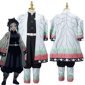 Demon Slayer Kochou Shinobu Uniform Outfit Halloween Carnival Suit Cosplay Costume for Kids Children