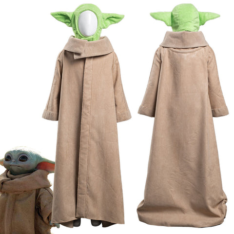 The Mandalorian -Baby Yoda Robe Hat Outfits Halloween Carnival Suit Cosplay Costume For Kids