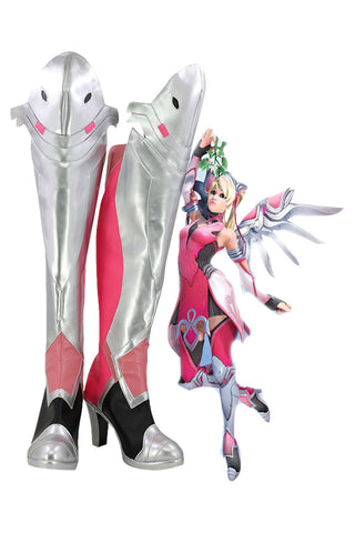Overwatch Mercy Angela Ziegler Outfit Pink Mercy Skin Cosplay Shoes Boots