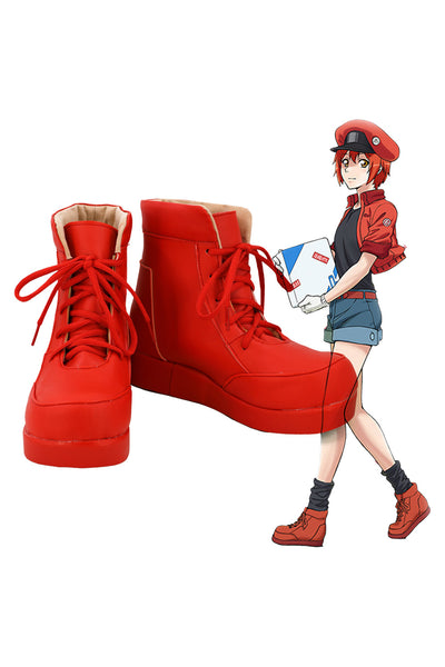 Cells at Work! Hataraku Saibo Erythrocite Red Blood Cell Cosplay Shoes Boots