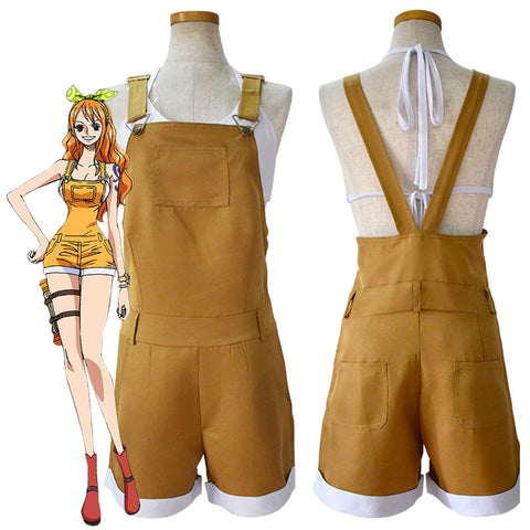 One Piece Nami Overall Shorts Halloween Carnival Suit Cosplay Costume