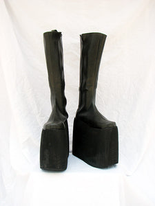 Punk Black Thick Crust Shoes Boots Custom-Made