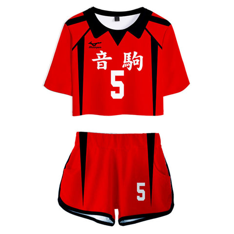 Haikyuu Nekoma High School NO 5 Kozume Kenma Women's Jersey Sports Wear Uniform Top Shorts Cosplay Costume