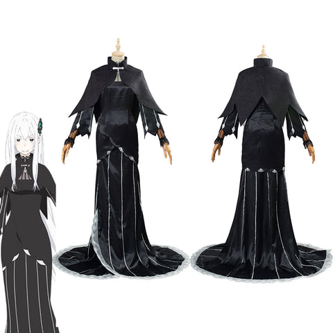 Re:Life in a different world from zero Echidna/Ekidona Black Dress Outfit Halloween Carnival Costume Cosplay Costume