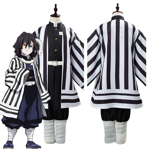 Anime Demon Slayer Kimetsu no Yaiba Iguro Obanai Uniform Outfit Cosplay Costume for Kids Children