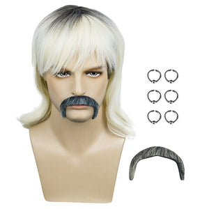 Tiger King Joe Exotic Earrings Beard Costume Accessories Dress Up Prop Kits Set Cosplay Wig