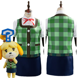 Game Animal Crossing Isabelle Halloween Women Uniform Outfits Cosplay Costume