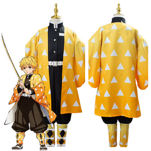 Anime Demon Slayer Kimetsu no Yaiba Agatsuma Zenitsu Uniform Outfit Cosplay Costume for Kids Children