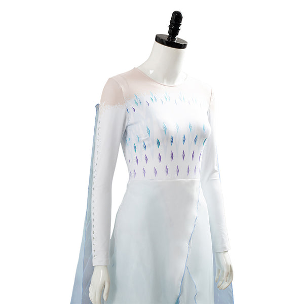 Frozen 2 Elsa Ahtohallan Cave Queen White Gown Cosplay Costume