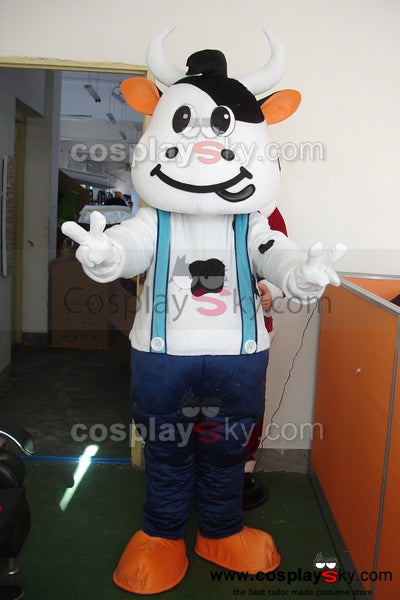 Cartoon Milk Cow Mascot Costume Adult Size