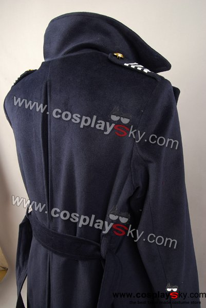 Doctor Who Dr. Dark Blue or Black Wool Trench Coat Costume Ver2